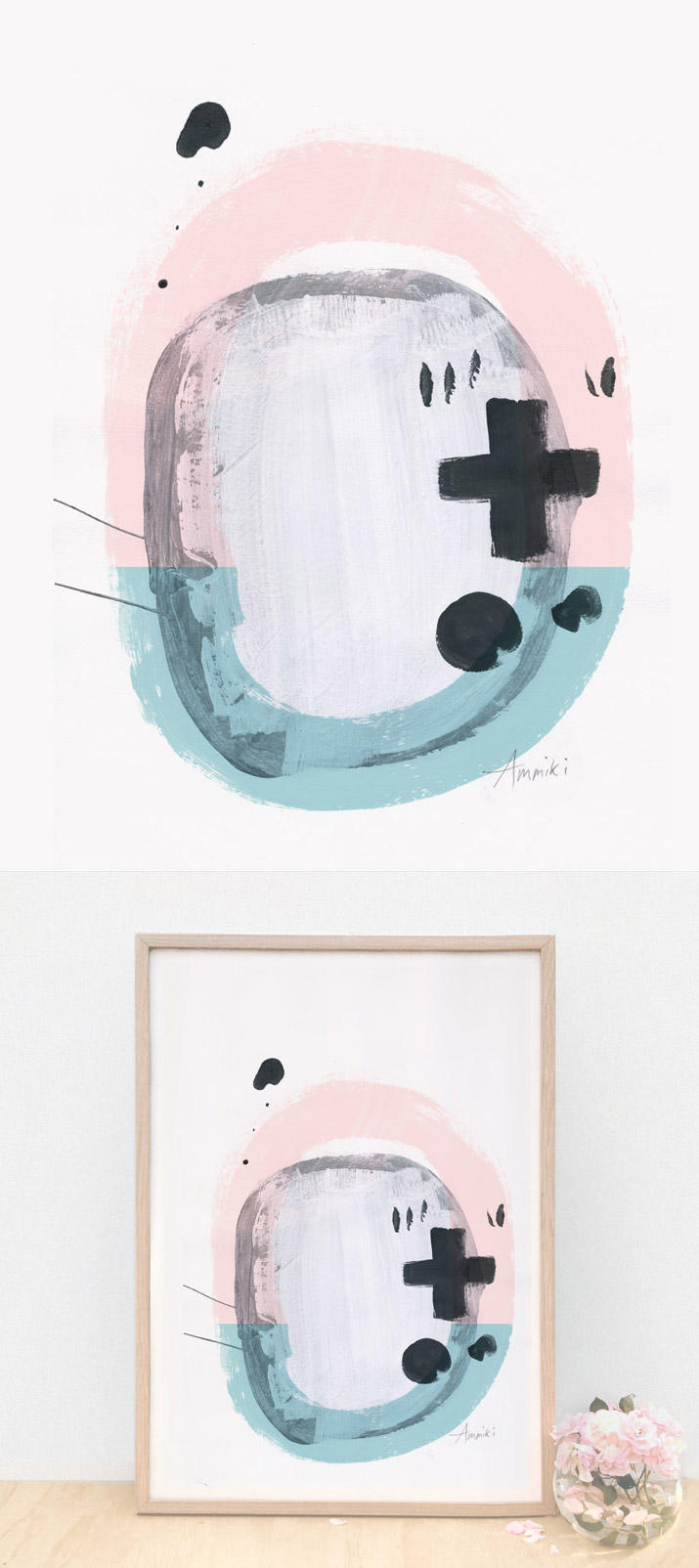 Abstract modern contemporary art print, circles and crosses, light green and pink
